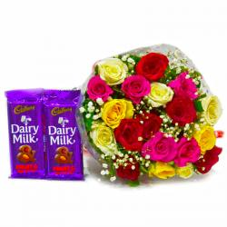 Bunch of 20 Assorted Roses with Bars of Cadbury Fruit N Nut Chocolates