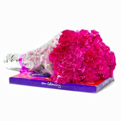 Bunch of 20 Pink Carnations with Cadbury Celebration Chocolate Box