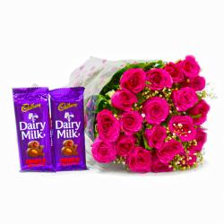 Bunch of 20 Pink Roses with Cadbury Fruit and Nut Chocolate Bars