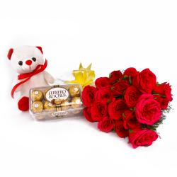 Bunch of 20 Red Roses and 16 Pcs Ferrero Rocher with Cute Teddy Bear
