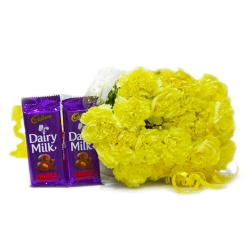 Bunch of 20 Yellow Carnations with Cadbury Fruit and Nut Chocolate Bars