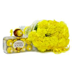 Bunch of 20 Yellow Carnations with Ferrero Rocher Imported Chocolate Box