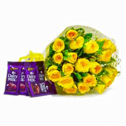 Bunch of 20 Yellow Roses with Bars of Cadbury Dairy Milk Chocolates