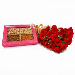 Bunch of 24 Red Rose with Box of Mix Dryfruits