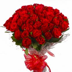 Bunch of 50 Red Roses in Cellophane Packing