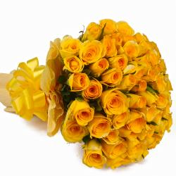 Bunch of 50 Yellow Roses Tissue Packing