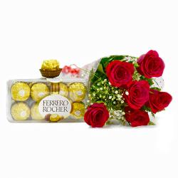 Bunch of 6 Red Roses with Ferrero Rocher Imported Chocolate Box
