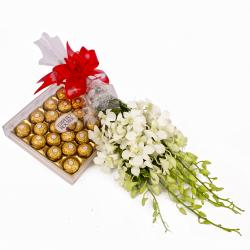 Bunch of 6 White Orchids and 24 Pcs Ferrero Rocher Chocolate