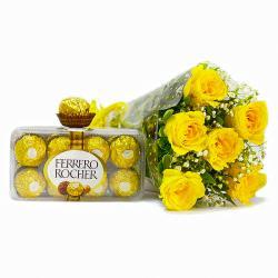 Bunch of 6 Yellow Roses with Ferrero Rocher Chocolate Box