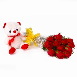Bunch of Dozen Red Roses with Cuddly Bear