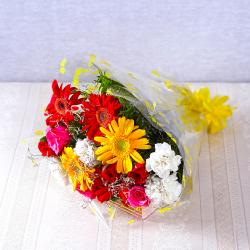 Bunch of Fifteen Colorful Gerberas, Carnations with Roses