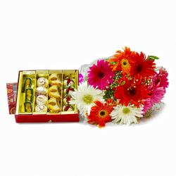 Bunch of Mix Gerberas with Box of One Kg Assorted Sweets