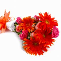 Bunch of Orange Gerberas and Pink Roses with Pink Carnations