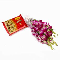 Bunch of Purple Orchids and Soan Papdi Sweet Box