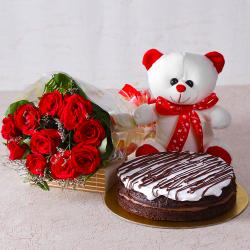 Bunch of Red Roses with Teddy Bear and White Cream Chocolate Cake