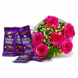 Bunch of Six Pink Roses with Cadbury Dairy Milk Chocolate Bars