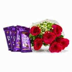 Bunch of Six Red Roses with Bars of Cadbury Dairy Milk Chocolates