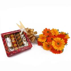 Bunch of Ten Colorful Gerberas and Assorted Sweets