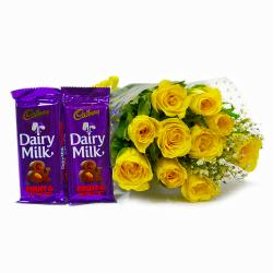 Bunch of Ten Friendly Yellow Roses with Bars of Cadbury Fruit N Nut Chocolates