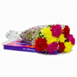 Bunch of Ten Mix carnations with Cadbury Celebration Chocolate Box