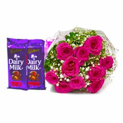 Bunch of Ten Pink Roses with 2 Cadbury Dairy Milk Fruit N Nut Bars