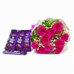 Bunch of Ten Pink Roses with Five Cadbury Dairy Milk Chocolate Bars