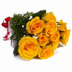 Bunch of Ten Yellow Roses Tissue Wrapped