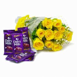 Bunch of Ten Yellow Roses with Cadbury Dairy Milk Chocolate Bars