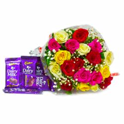 Bunch of Tewnty Colourful Roses with Bars of Cadbury Dairy Milk Chocolates