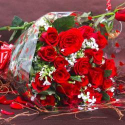 Bunch of Twenty Fresh Red Roses