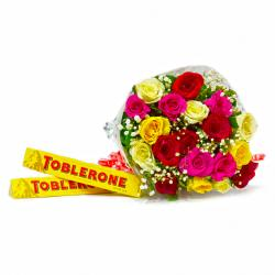 Bunch of Twenty Mix Roses with Toblerone Chocolate Bars