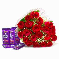 Bunch of Twenty Red Roses with Five Cadbury Dairy Milk Chocolate Bars