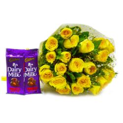 Bunch of Twenty Yellow Roses with Cadbury Fruit and Nut Chocolate Bars