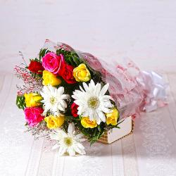 Bunch of White Gerberas with Multi Colour Roses