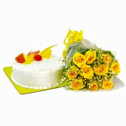 Bunch of Yellow Roses and Pineapple Cake