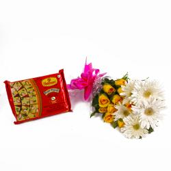 Bunch of Yellow Roses and White Gerberas with Pack of Soan Papdi Sweets