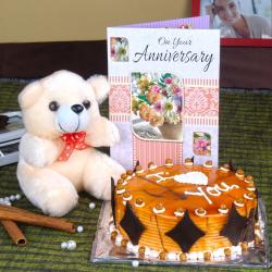 Butterscotch Cake and Teddy with Anniversary Card