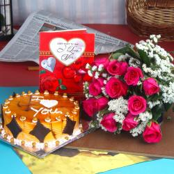 Butterscotch Cake with Pink Roses Bouquet and Love Card