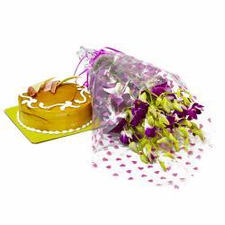 Butterscotch Cake with Purple Orchids Bouquet