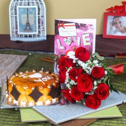 Butterscotch Cake with Roses Bouquet and Love Greeting Card