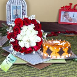 Butterscotch Cake with Twin Color Roses Bouquet