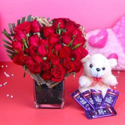 Cabury Dairy Milk Chocolate with Teddy Bear and Heart Shape Roses Arrangement