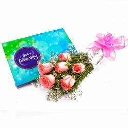 Cadbury Celebration Chocolate Box and Bouquet of 6 Pink Roses