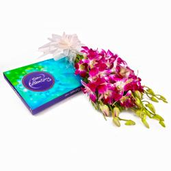 Cadbury Celebration Chocolate Box and Bouquet of Six Purple Orchids