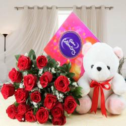 Cadbury Celebration Chocolate Pack and Red Roses with Soft Toy