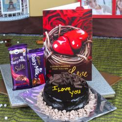 Cadbury Dairy Milk Chocolate with Chocolate Cake and Love Card