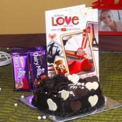 Cadbury Dairy Milk Chocolate with Heart Shape Chocolate Cake and Love Greeting Card