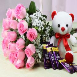 Cadbury Dairy Milk Chocolate with Pink Roses Bouquet and Cute Teddy Bear