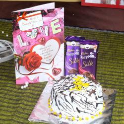 Cadbury Dairy Milk Silk Chocolate with Vanilla Cake and Love Card