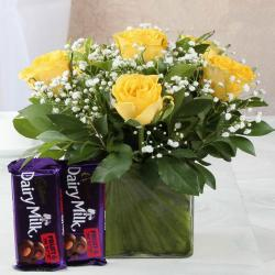Cadbury Dairymilk Fruit n Nut Chocolate with Yellow Roses in Vase